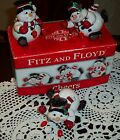 NEW HTF Trio of Fitz and Floyd CHEERS Tumbling Christmas Snowmen, Original Box