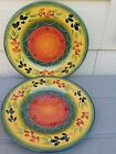 Tabletops Gallery La Province dinner plates (2) One NEW w/stickers hand painted