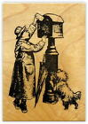 Posting a Letter to Santa mounted rubber stamp Victorian Christmas mail 19