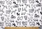 SNUGGLE FLANNELBLACK SKETCHES of DOG BREEDS on WHITE 100 Cotton NEW 1 Yd 22