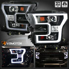 2015-2017 Ford F150 Black Projector Headlights w/ LED Daytime Strip Light Tube