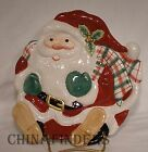 FITZ & FLOYD china PLAID CHRISTMAS pattern Santa Canape Plate @ 8-1/2