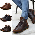 Mens Winter Warm Leather Waterproof Light Boots High Top Lace Up Casual Shoes