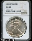 1990 S 1 Silver American Eagle NGC MS69