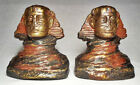 Ultra Rare Sphinx Antique Bookends by Armor Bronze/Polychrome Bronze Clad ~1920s