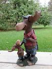 MOOSE FATHER SON FIGURINE HUNTING RESIN NEW STATUE ORNAMENT 11 IN