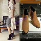 Women Fashion Pointy Toe Sneaker Leather Pull On Block Heel Ankle Boots Size