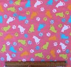 SNUGGLE FLANNEL MULTI COLOR CATS on PINK 100 Cotton BTY