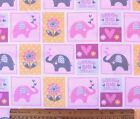 SNUGGLE FLANNEL DREAM BIG ELEPHANT BLOCKS PINK 100 Cotton Fabric BTY