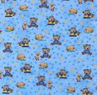 SNUGGLE FLANNEL SLEEPY TEDDY BEARS  DUCKS on BLUE STARS 100 Cotton Fabric BTY