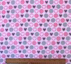 SNUGGLE FLANNEL PINK GRAY HEARTS  CIRCLES on WHITE100 Cotton Fabric NEW BTY