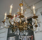 LARGE 9 LIGHT BRASS FRENCH CHANDELIER CRYSTAL GLASS VINTAGE OLD LAMP ANCIENT