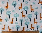 SNUGGLE FLANNEL  YELLOW GIRAFFES and TREES on WHITE 100 Cotton Fabric BYT