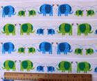 SNUGGLE FLANNEL BLUE  GREEN ELEPHANTSMAMA  BABIES 100 Cotton Fabric BTY