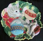 Fitz & Floyd Kristmas Kitty 2 (a pair) Canape Plates Christmas Kittens Play 2003