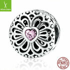Romantic 925 Sterling Love & Friendship, Pink CZ Charms Bead Fit Christmad Gifts