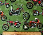 SNUGGLE FLANNEL VARIETY of MOTORCYCLES on GREEN  100 Cotton Fabric NEW BTY