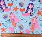 SNUGGLE FLANNEL MERMAIDS STAR FISH SHELLS on Aqua Blue 100 Cotton NEW BTY