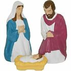 3 PC Color NATIVITY SET 28 BLOW MOLD MARY JOSEPH YARD JESUS PLASTIC