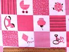 SNUGGLE FLANNEL PINK WHITE BABY GIRL BLOCKS on WHITE 100 Cotton Fabric BTY