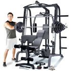 Marcy SM4000 Deluxe Smith Machine Home Multi Gym Weight Bench  140kg Plate Set