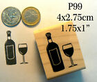 P99  Wine bottle and glass rubber stamp WM