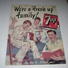 1948 7up We're A Fresh Up Family Advertising Cardboard Store Display 12 x 16