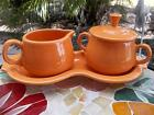HOMER LAUGHLIN FIESTA TANGERINE ORANGE CREAMER SUGAR TRAY SET * MINTY!