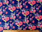 SNUGGLE FLANNEL  MULTI COLOR FLOWERS on NAVY BLUE 100 Cotton Fabric NEW BTY