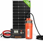 Solar Water Pump Kit 12V DC Submersible Well Water Pump 100W Solar Panel Farm