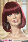Classic Long Bob Wig Bright Red Burgundy