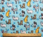 SNUGGLE FLANNEL  VARIETY of CATS on LIGHT BLUE100 Cotton Fabric NEW BTY