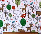 SNUGGLE FLANNEL SKETCHED FOREST ANIMALS on WHITE 100 Cotton Fabric NEW BTY
