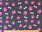 SNUGGLE FLANNEL HOT PINK DOG PAWS  PINK BONES on BLACKCotton FabricNEW BTY