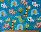 SNUGGLE FLANNEL  BABY JUNGLE ANIMALS FRIENDS  on TEAL 100 Cotton Fabric BTY
