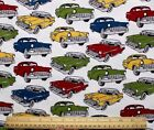 SNUGGLE FLANNEL CLASSIC VINTAGE CARS on WHITE 100 Cotton Fabric NEW BTY
