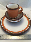 DANSK Stacking Stripe Dishes Pumpkin Orange Bowl Mug and Dinner Plate