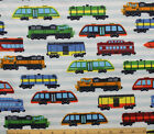 SNUGGLE FLANNEL MULTI COLOR TRAINENGINESRAIL CARS100 Cotton FabricNEW BTY