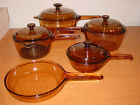 VISION CORNING WARE BROWN AMBER COOKWARE GLASS POT SAUCE PAN 9pc SET LOT 2.5L +