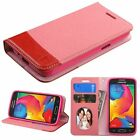For Samsung Galaxy Avant Pink Red Leather Fabric Case Cover w stand w card slot
