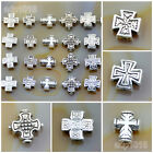 20Pcs Tibetan Silver Carved Patterned Cross Connector Space Charm Beads Craft