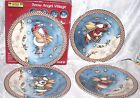 Sakura Debbie Mumm Snow Angel Village Salad /Appetizer Plates Set 4 New
