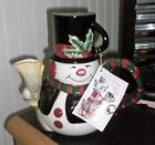 FITZ and FLOYD  Snack Therapy cocoa / teapot for 1 Snowman New OBOX w/ tag