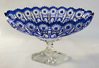 VINTAGE BOHEMIAN COBALT BLUE CUT CLEAR CRYSTAL CENTERPIECE FOOTED OVAL BOWL MINT