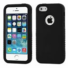 For Apple iPhone 5 5S SE Black Verge Hard Silicone Hybrid Rubber Case