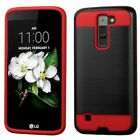 For LG K7 Black Red Hard Silicone Hybrid Rubber Case Cover