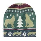Blue Tan Green Wolf Paw Tree Up North Cabin Rustic Look Stocking Cap Hat Beanie