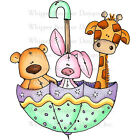 Whipper Snapper Cling Stamp 4X6 Baby Zoo Umbrella NEW