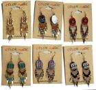 12 PAIR OVAL SHAPE NATIVE INDIAN STYLE DANGLE SEED BEAD WOMENS PERICED EARRINGS