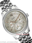 U0474G2 NEW GUESS MEN ROUND MULTIFUNCTIONS DIAL SILVER STAINLESS BAND WATCH
